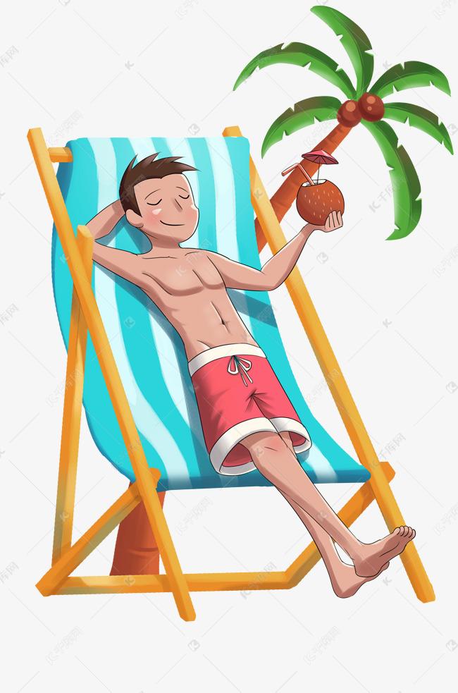 沙滩椅游客手绘插画素材图片免费下载 千库网