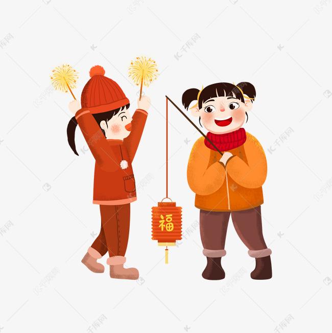新年游乐儿童插画手绘放烟花素材图片免费下载 千库网