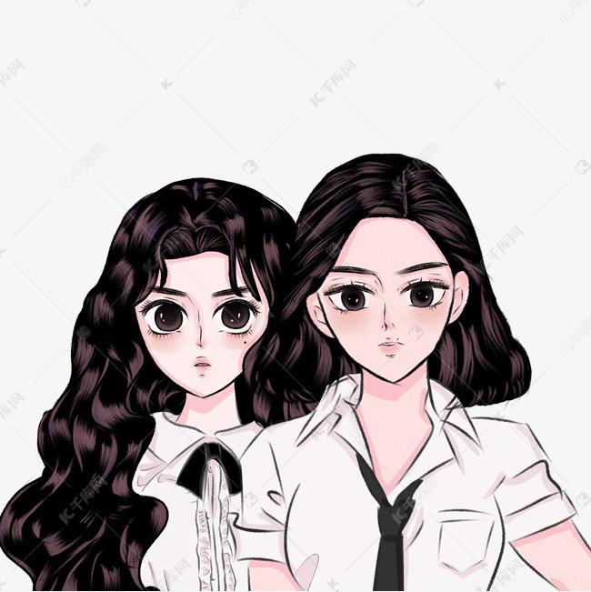 卡通手绘女子高中生间种a卡通高中在心有一图片