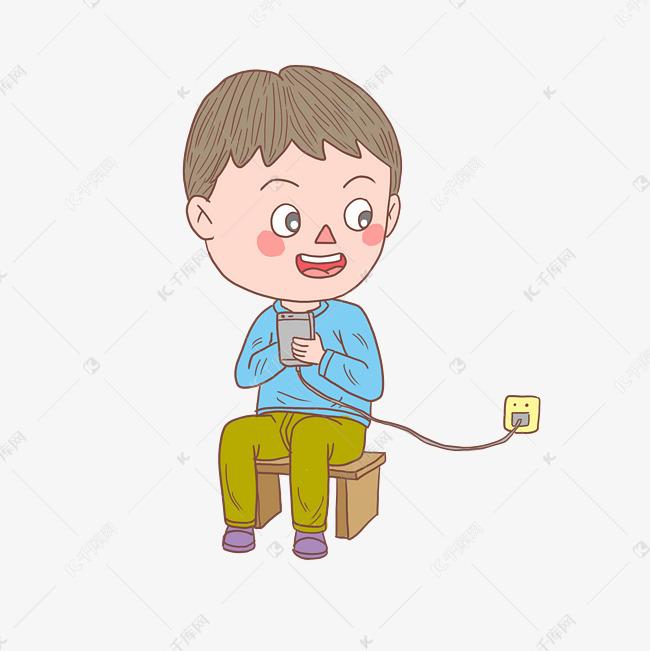 卡通手绘人物给手机充电少年素材图片免费下载 高清psd 千库网 图片编号11493723