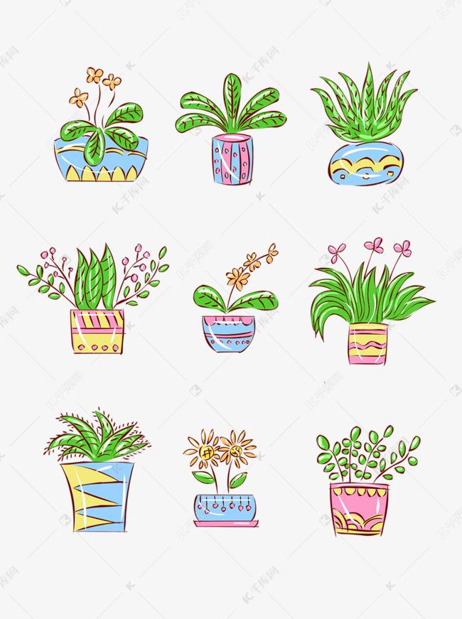 手绘花简笔画风格可爱卡通小盆栽素材图片免费下载 千库网