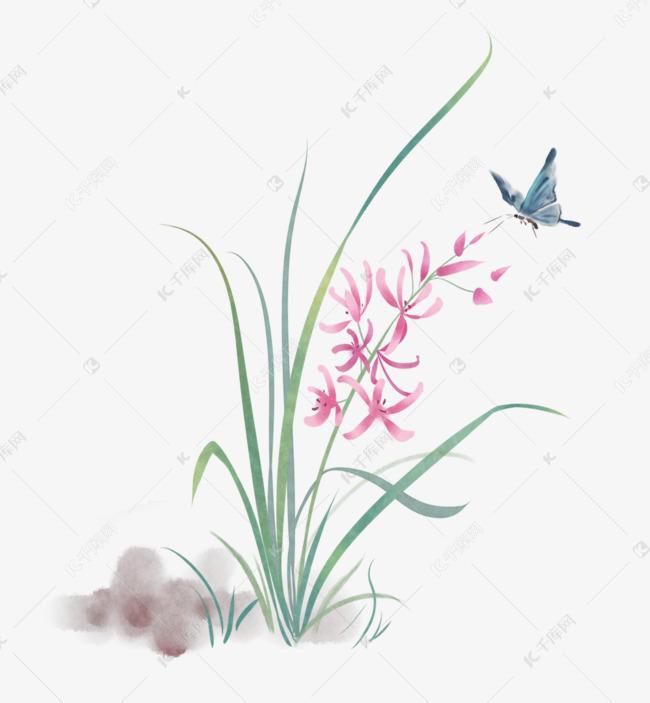 古风花卉手绘创意插画素材图片免费下载 千库网图片