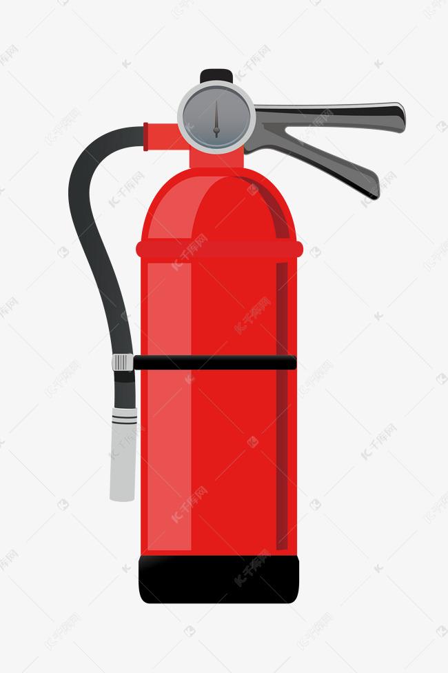 手绘消防灭火器插画的素材免抠干粉灭火器汽车灭火器消防安全图手绘灭火器插画红色的灭火器压力的表盘黑色的手把黑色的管子卡通插画