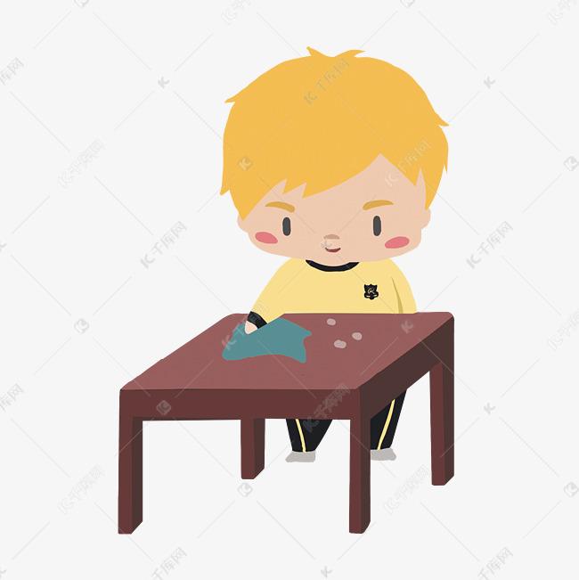 手绘校园文明卡通学生擦桌子素材图片免费下载 千库网图片