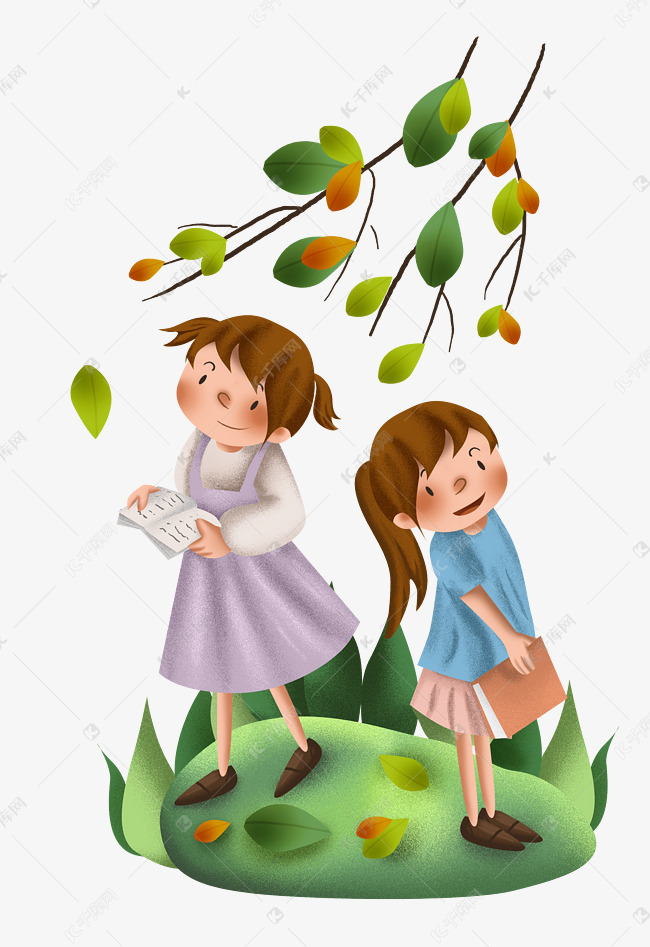 手绘树下看书的学生素材图片免费下载 千库网