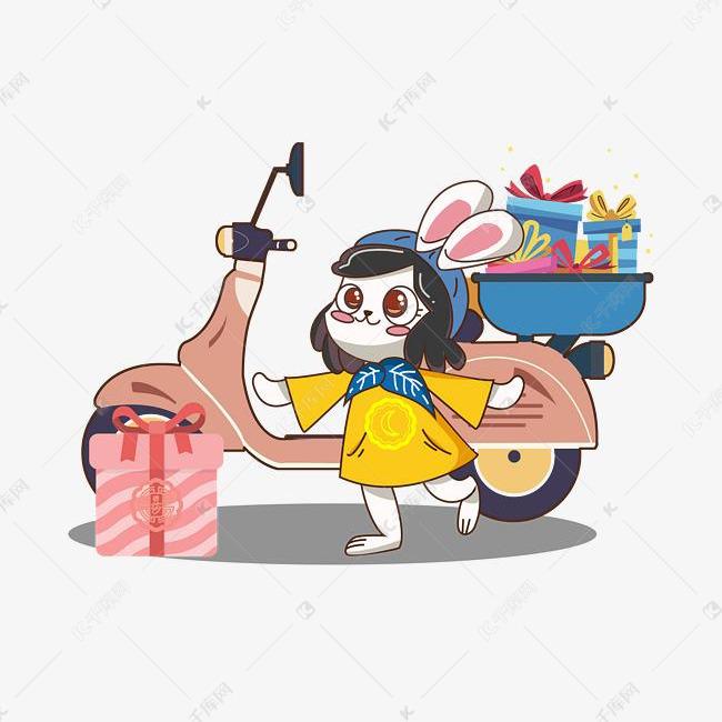 手绘送月饼的兔子素材图片免费下载 千库网