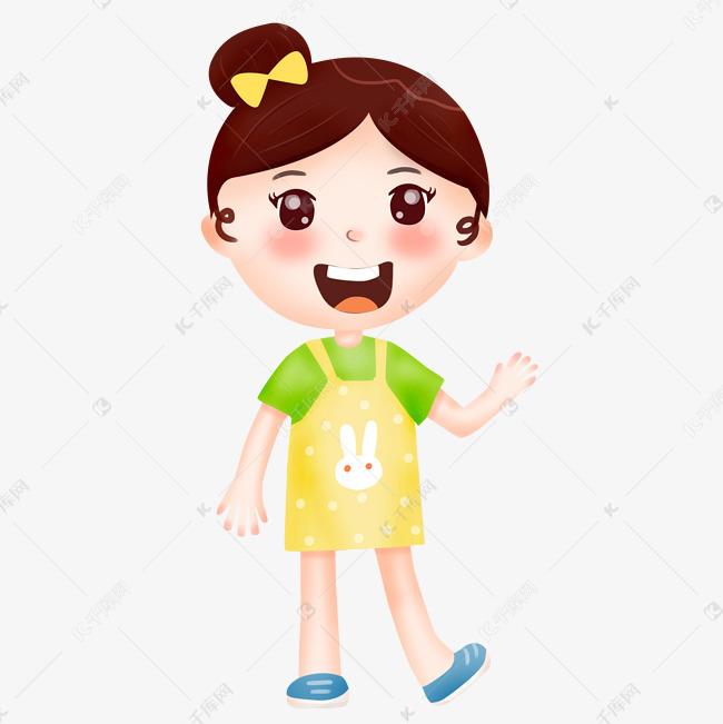 可爱小女孩蝴蝶结招手卡通人物女生学生插画图片