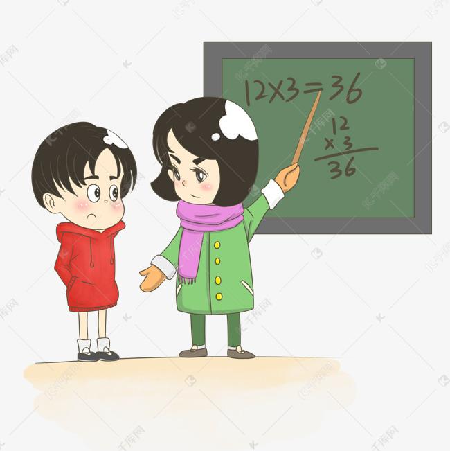 妈妈教孩子数学卡通手绘插画素材图片免费下载 高清psd 千库网 图片编号11495470图片