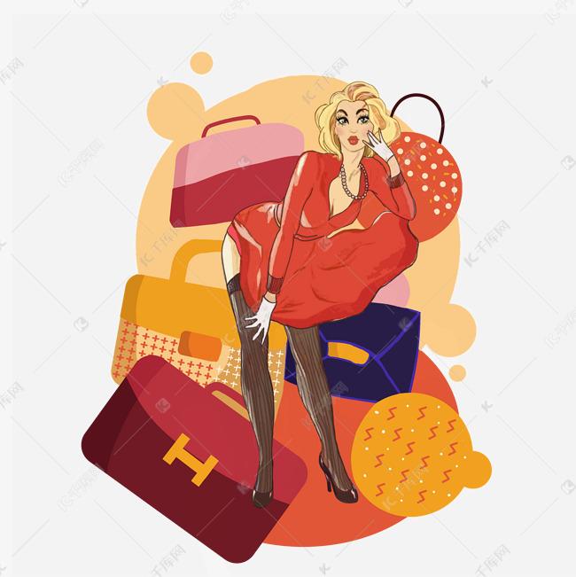 美女一复古双十包包剁手PNG网购美女图片肥大臀图片