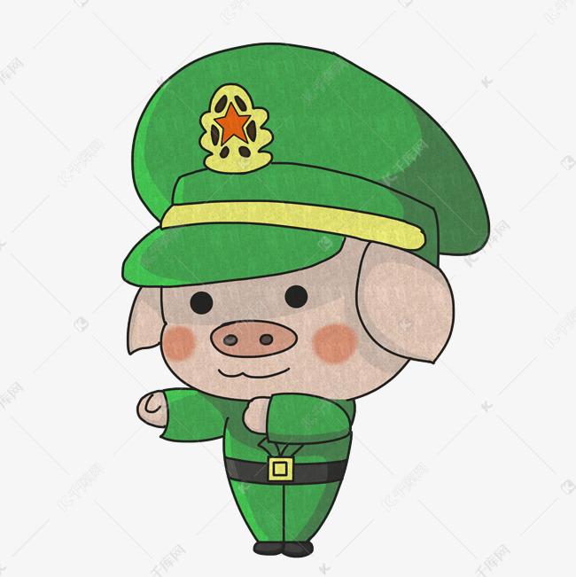 2019猪年萌萌可爱军装小猪手绘插画
