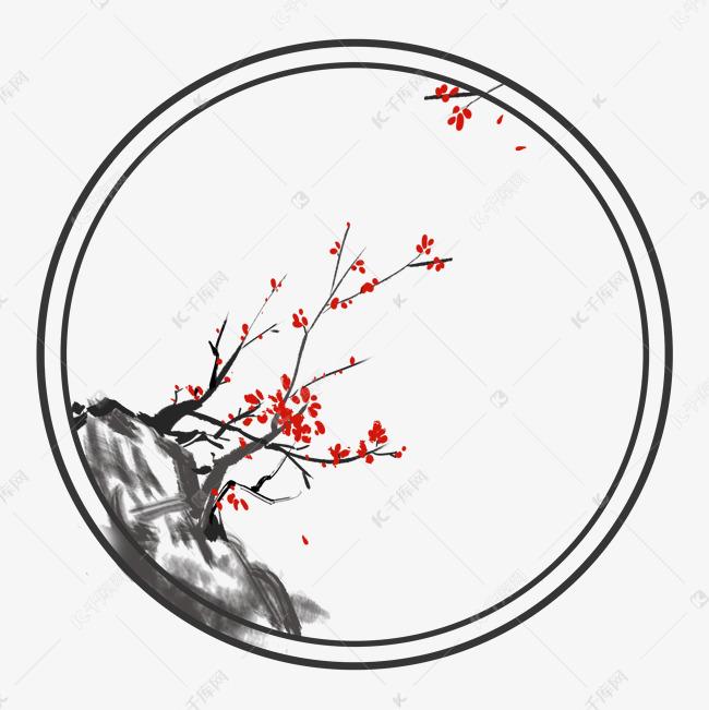古风花卉梅花圆形边框素材图片免费下载 千库网