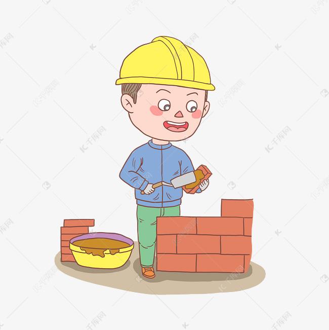 卡通手绘人物建筑工人的素材免抠跳起来的人物剪影中国风建筑卡通手绘女工作少年建筑工人开心男生农民工盖房子简笔画人物卡通手绘手账男孩