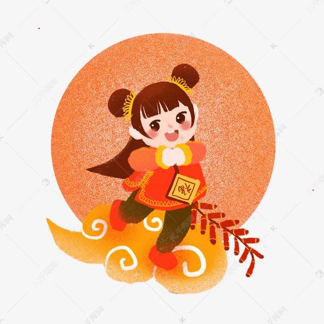 春节鞭炮手绘可爱女生拿卡通女孩踩祥云a鞭炮拜揉蛋福字图片
