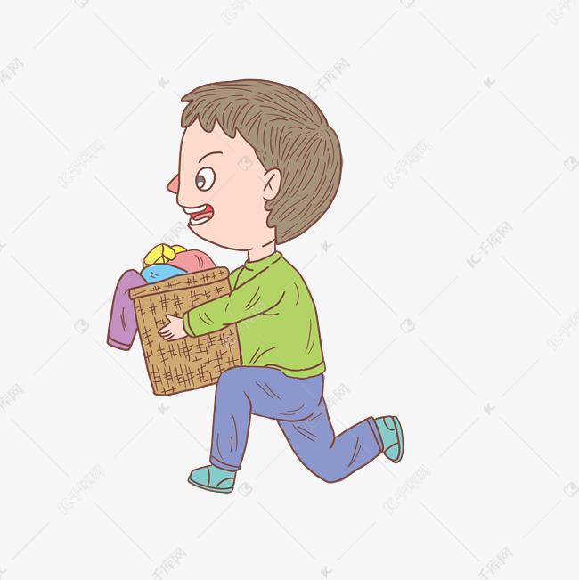卡通手绘人物洗衣服男孩素材图片免费下载 千库网