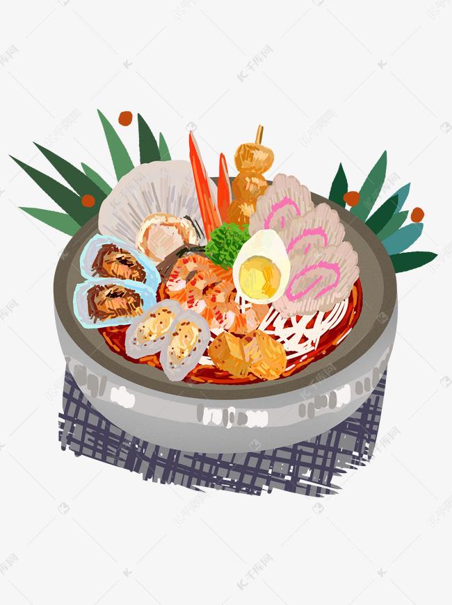 手绘美食日料海鲜拉面设计元素素材图片免费下载 千库网