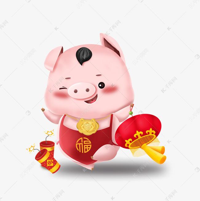 福猪报喜放鞭炮提灯笼手绘卡通猪素材图片免费下载 高清psd 千库网 图片编号11544281