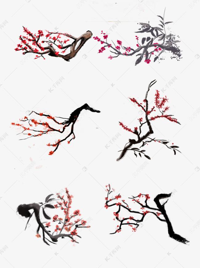 手绘国画水墨风红梅大集合素材图片免费下载 高清psd 千库网 图片编号11680762图片