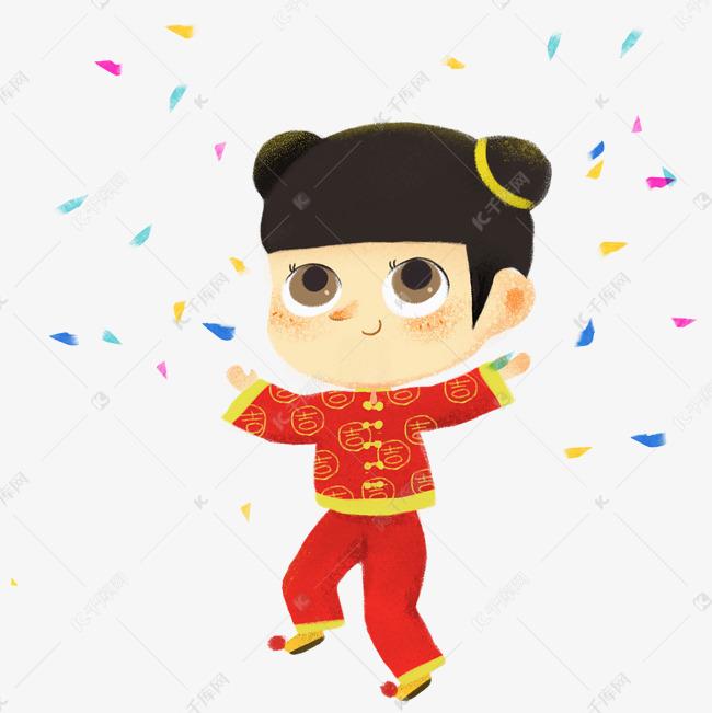 年画娃娃新春卡通手绘儿童插画穿新衣的小可爱素材图片免费下载 高清psd 千库网 图片编号11591361