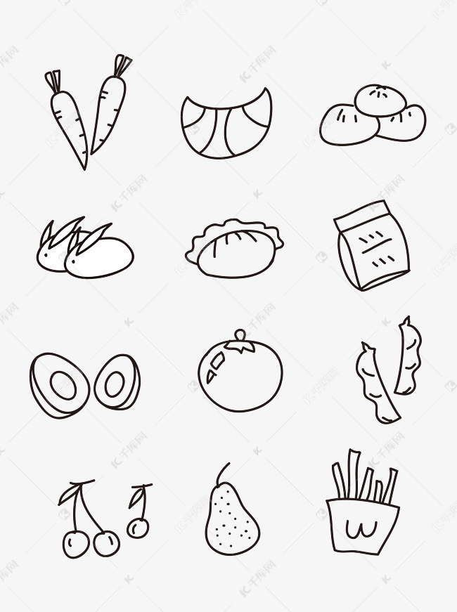 小孩子简笔画手账手绘黑白食物素材图片免费下载 千库网