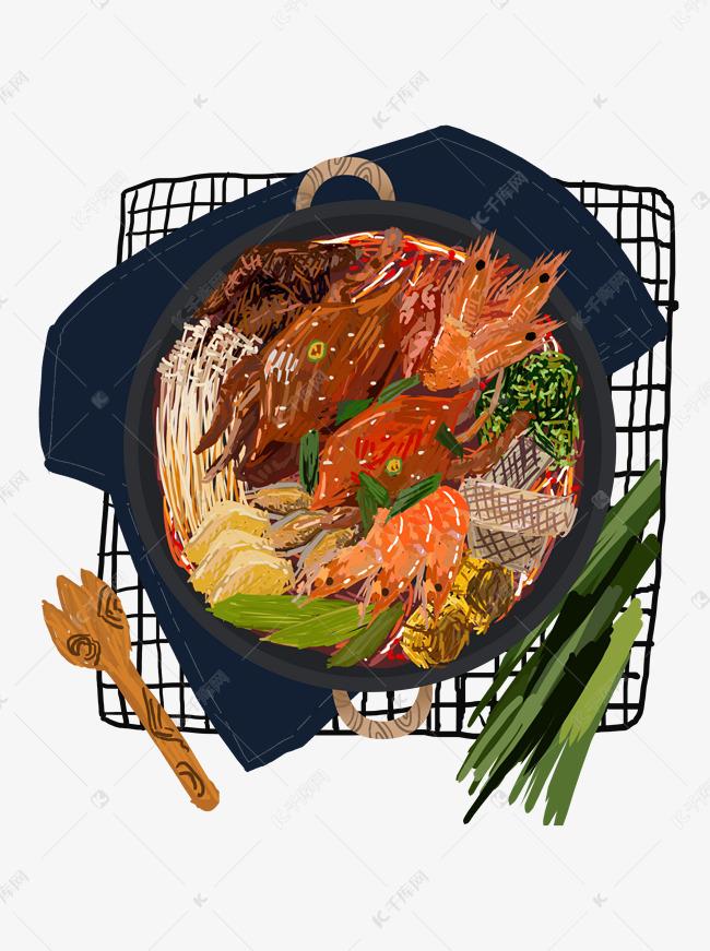 手绘美食海鲜火锅设计元素素材图片免费下载 千库网