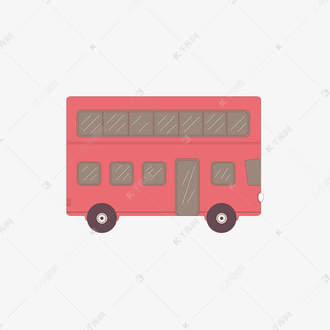 矢量手绘卡通红色大巴车素材图片免费下载 千库网