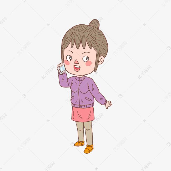 卡通手绘人物打电话少女素材图片免费下载 高清psd 千库网 图片编号11471973图片