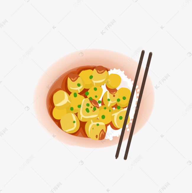 卡通手绘豆腐插画素材图片免费下载 千库网
