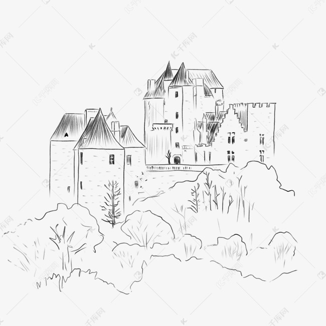 手绘欧洲城堡黑白钢笔画素材图片免费下载 高清psd 千库网 图片编号11392236