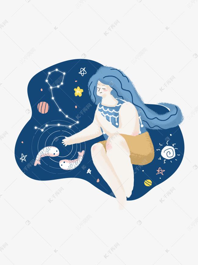 十二星座插画手绘简约女孩个性元素双鱼座月亮摩羯座弱图片