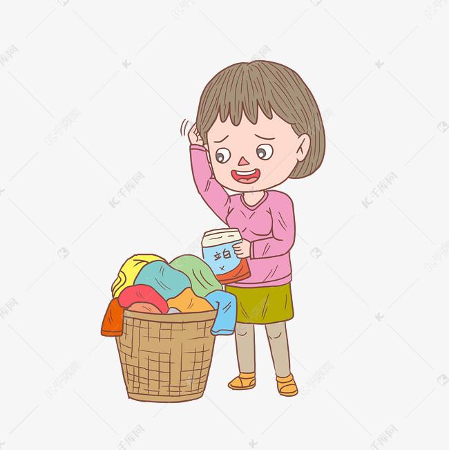 卡通手绘人物洗衣服女孩素材图片免费下载 千库网