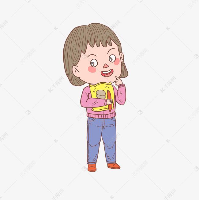卡通手绘人物吃零食女孩素材图片免费下载 高清psd 千库网 图片编号11471977