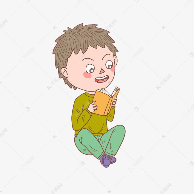 卡通手绘人物阅读看书男孩素材图片免费下载 高清psd 千库网 图片编号11493729