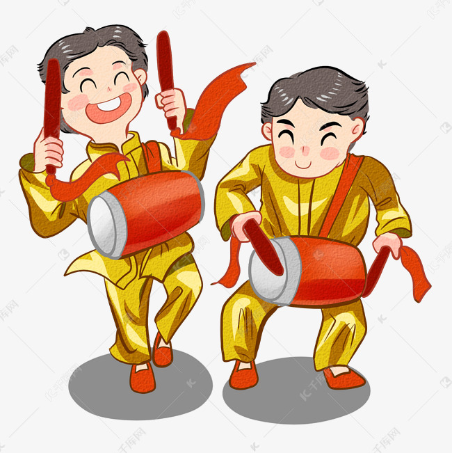 2019年新年民俗安塞腰鼓的男孩们素材图片免费下载 千库网