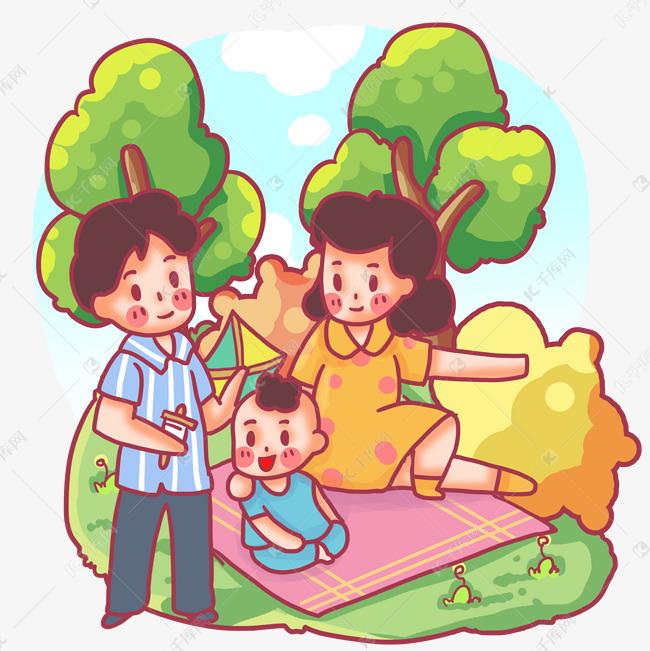 一家三口春游野餐放风筝素材图片免费下载 千库网