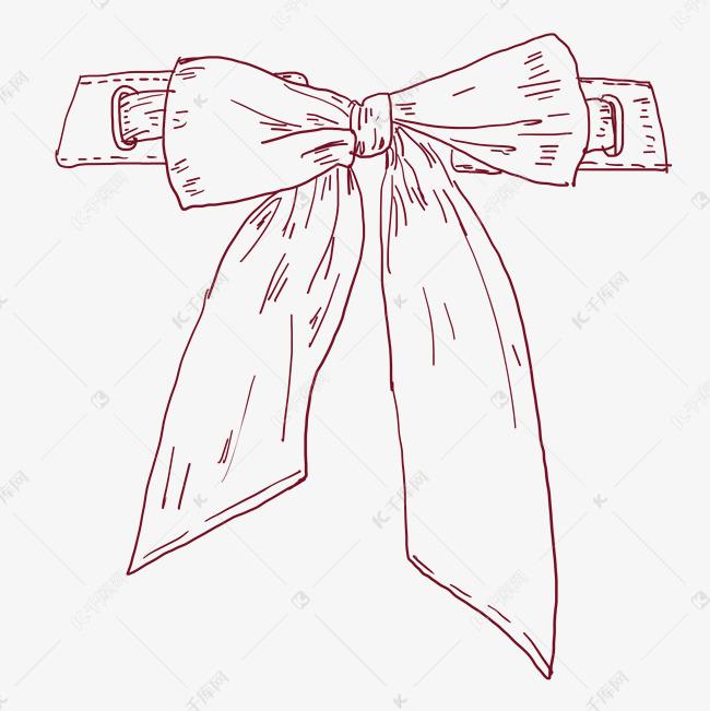 线描蝴蝶结装饰插画素材图片免费下载 千库网图片