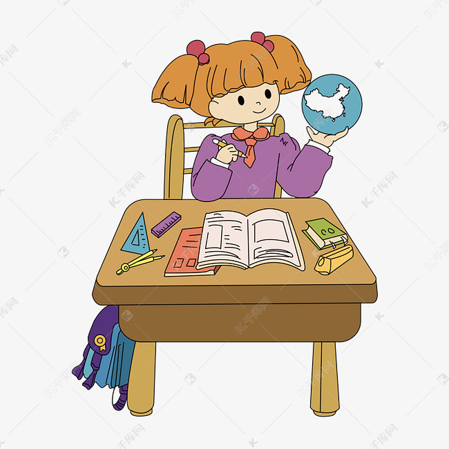 作业的学生的素材免抠                                写作卡通人物图片