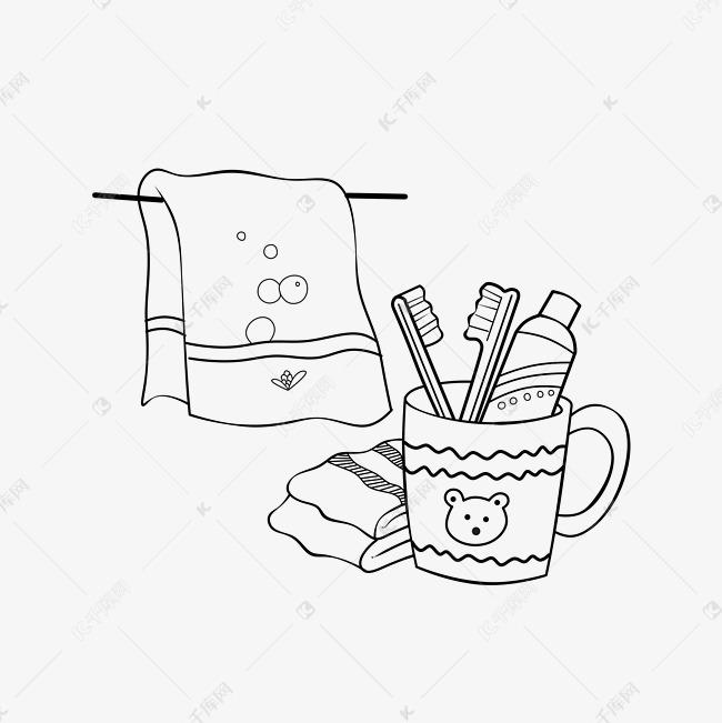 线描牙缸手绘插画素材图片免费下载 高清psd 千库网 图片编号11779748