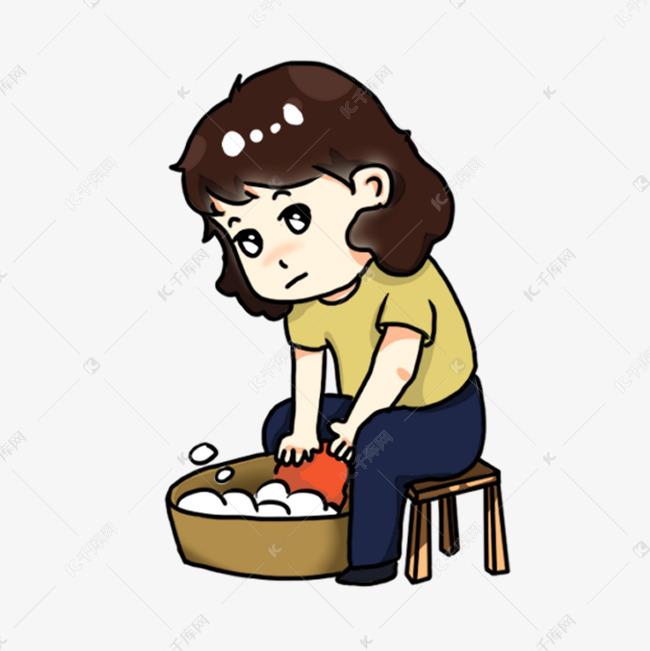 手绘卡通洗衣服的的妈妈素材图片免费下载 千库网