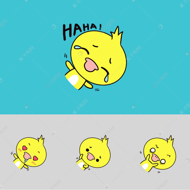 Q版可爱鸭子歪头小样机卡通小表情动物草表情包头上搞笑长图片