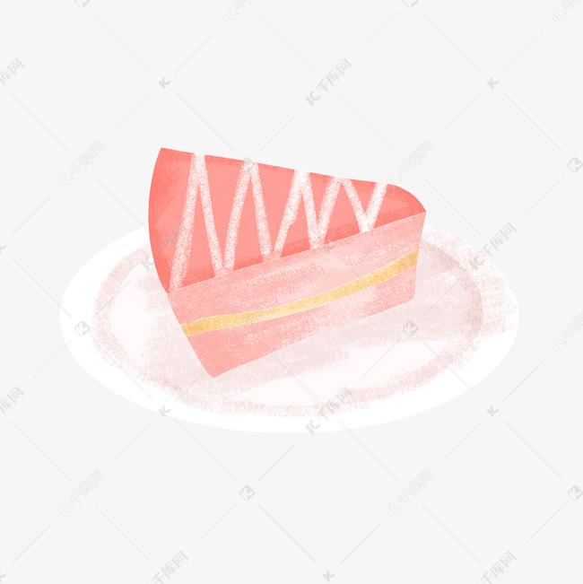 草莓三角切块蛋糕粉色手绘卡通扁平风可爱少女图片