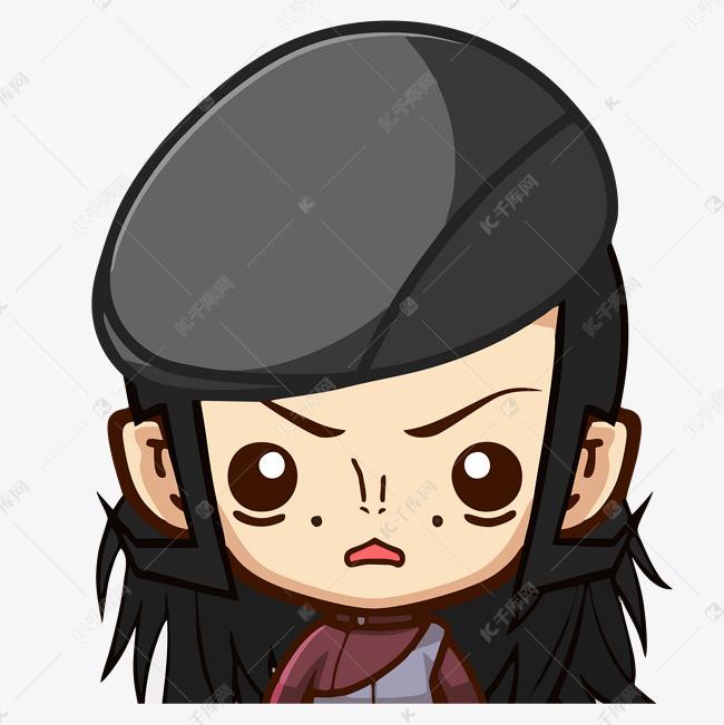 卡通动漫手绘戴帽子小女孩可爱担忧小表情