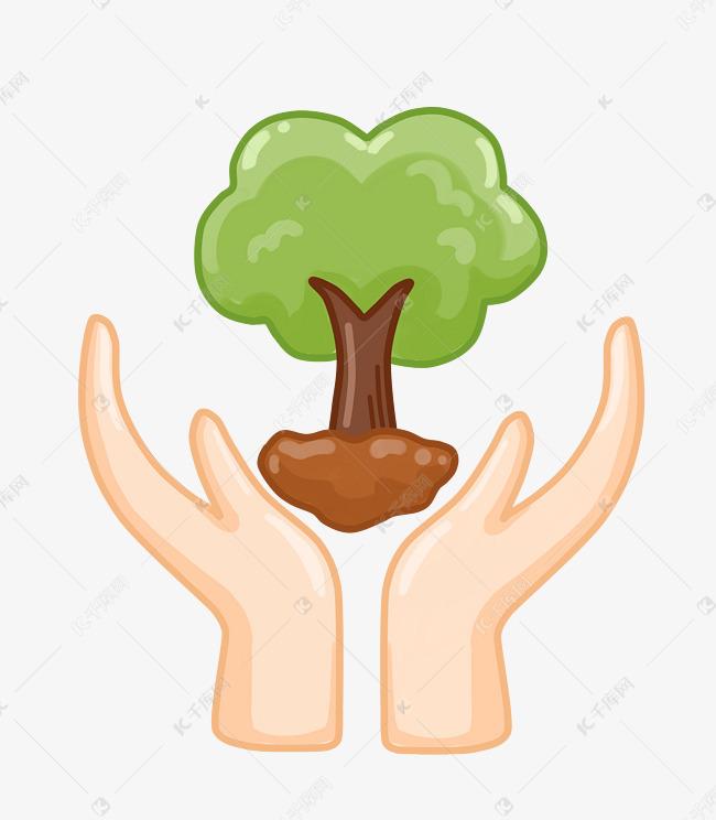 环保插画手托大树素材图片免费下载 千库网