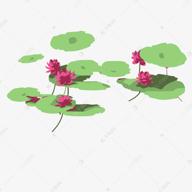 卡通池塘中的荷花荷叶免抠图素材图片免费下载 高清psd 千库网 图片编号11815507