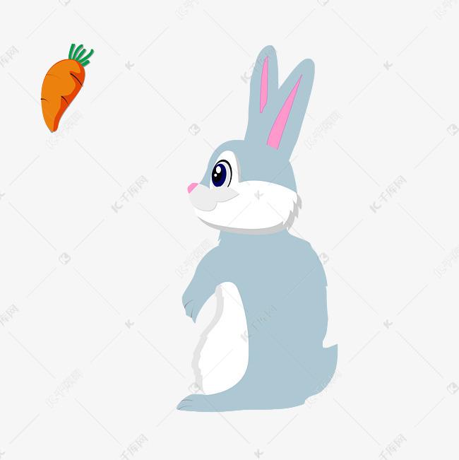 可爱卡通吃萝卜的小兔子素材图片免费下载 千库网