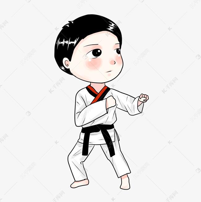 跆拳道卡通萌q版动漫小男孩男生手绘卡通人物
