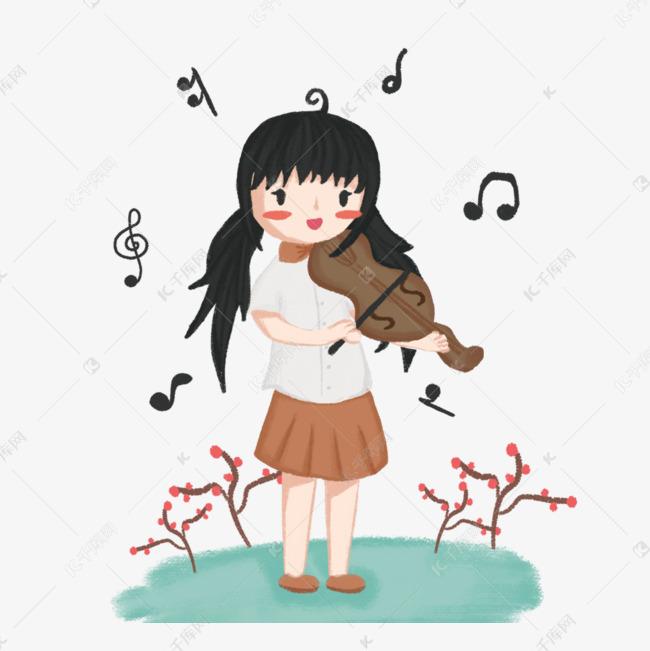 手绘可爱女孩弹竖琴女生说插图恨你图片