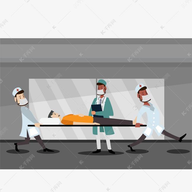 彩色卡通手绘医生担架急救元素图片