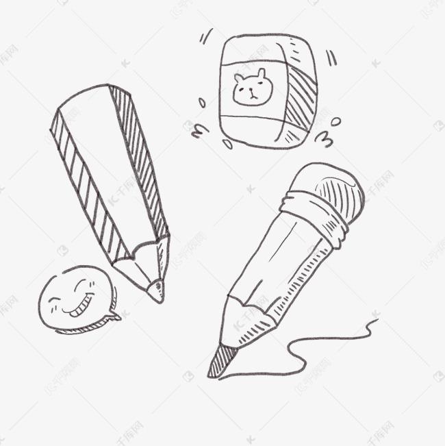 卡通手绘涂鸦线条铅笔橡皮简笔画素材图片免费下载 高清psd 千库网 图片编号9834048