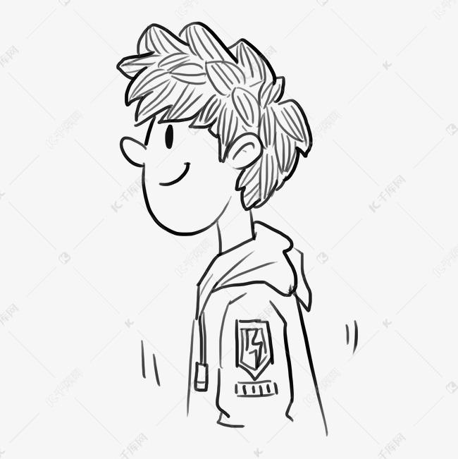 手绘线条简笔漫画人物侧面年轻卡图片