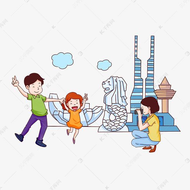 手绘新加坡旅游拍照插画的素材免抠新加坡flag童话故事插画吃西瓜手绘卡通旅游拍照人物地标建筑旅游景点矢量插画风景名胜新加坡手绘拍照旅游自拍